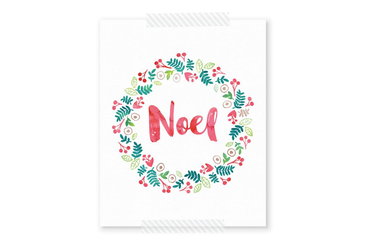 Free Christmas Printable Noel Watercolor