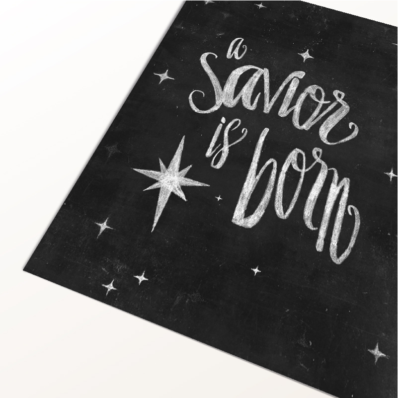 A Savior is Born Christmas Free Printable | Remember the reason for the season with this chalkboard art free printable. Click through to download yours today!