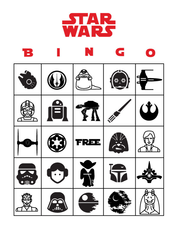 Free Printable Star Wars Bingo | Star Wars activities for kids