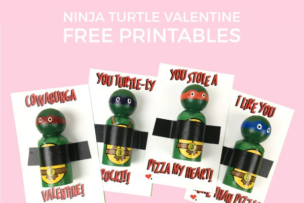 Ninja Turtle Valentine Free Printable   These free printable TMNT valentines are perfect for little boys! Use DIY TMNT peg dolls, Lego mini figs, or even ninja turtle themed candy! Click through to download now.