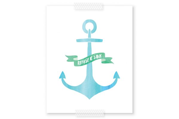 Anchor Free Printable Wall Art | This inspirational anchor printable is perfect for a soft, serene nursery or even in the living room of a coastal themed home. Click through to download your copy today!