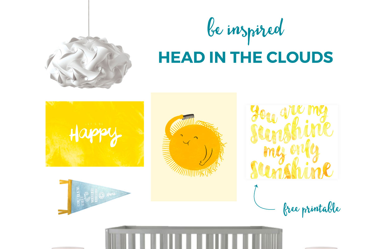 Cloud Themed Nursery | Your little one will love this bright and cheery gender neutral nursery. Click through for all the sources plus a FREE art print download pictured above!