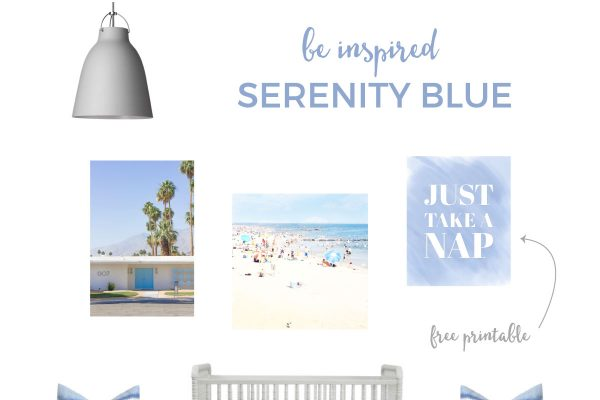 Pantone Serenity Nursery | You've seen the Rose Quartz nursery board, now make room for the Serenity blue nursery board. Be right on trend with this cool and calming blue nursery. And download your FREE corresponding printable wall art!