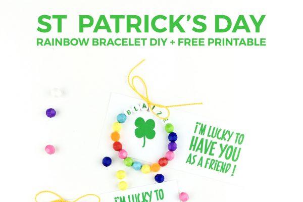 St. Patrick's Day DIY Rainbow Bracelet + Free Printable