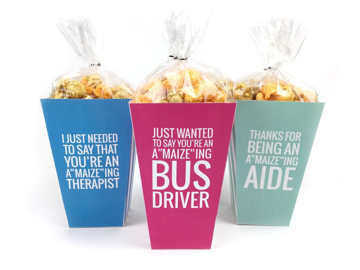 Bus driver appreciation free printable |This Teacher Appreciation week, don't forget about the aides, bus drivers and therapists that help your kiddos out each and every day! Click through to download your free printable popcorn boxes for all those special helpers!