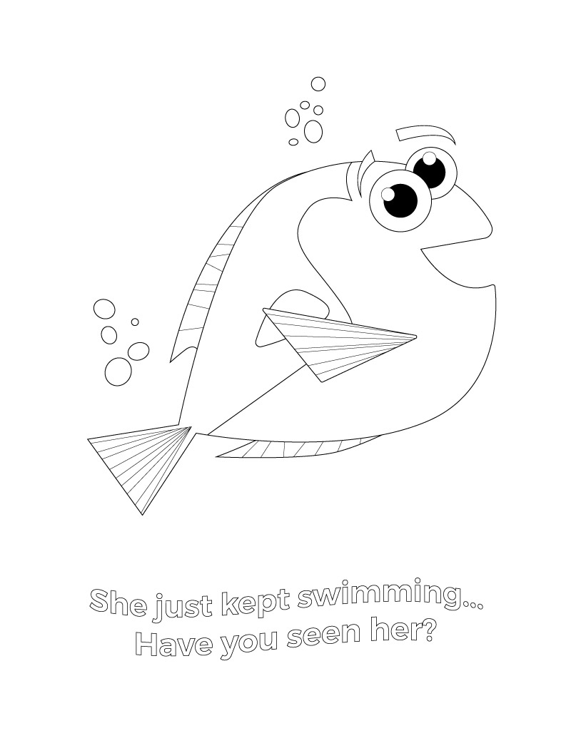 Finding Dory coloring page | cute disney coloring pages | kids art