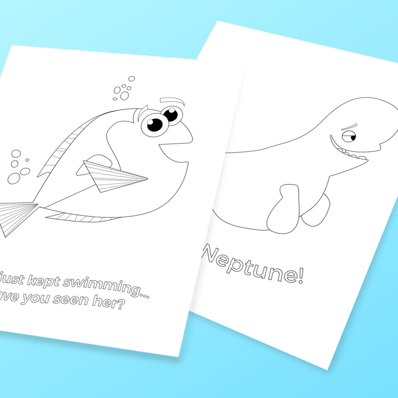 Come celebrate the newest Disney movie with these free Finding Dory coloring pages for kids featuring Dory and Bailey the beluga whale.