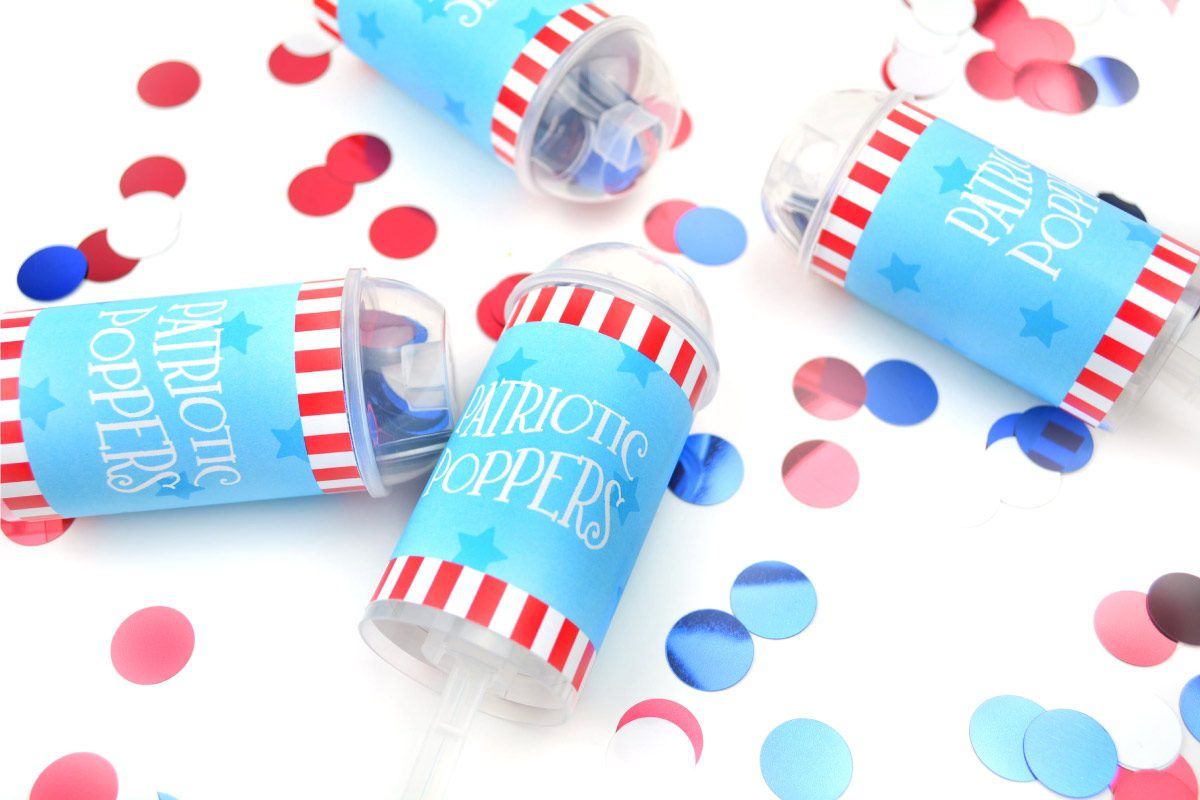 Let your young kids in on the patriotic festivities with these Fourth of July confetti poppers diy and FREE printables. No more worrying about firework safety. Click through to download yours today.