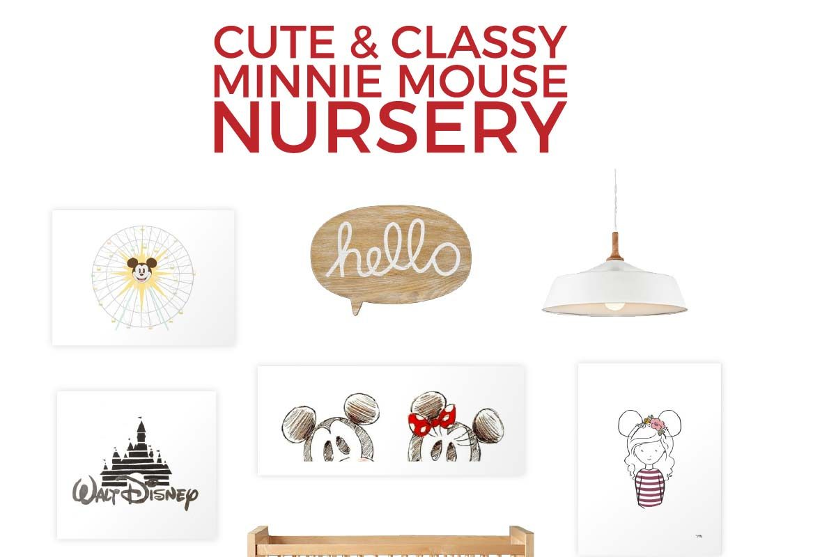 Create the perfect Disney nursery for your little girl with this adorable Minnie Mouse nursery. It's cute and features a red, black and tan color palette. Click through for all the sources.