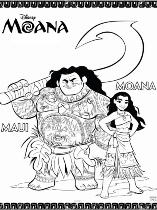Maui and Moana coloring page