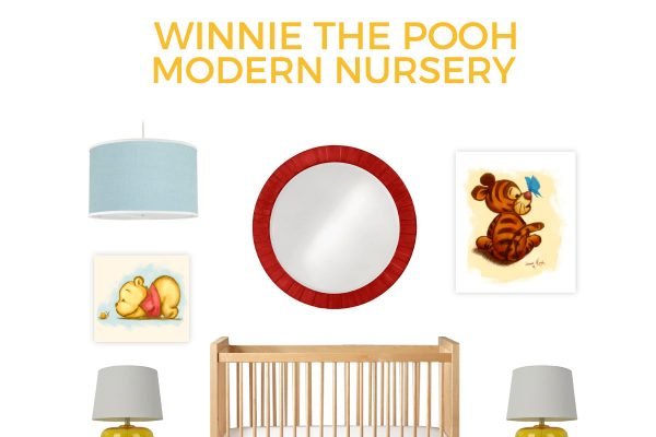 Share your love of AA Milne's classic storybook with your new baby with this Winnie the Pooh nursery. It's modern while still brining in the traditional elements of the classic. Click through for all the source info.