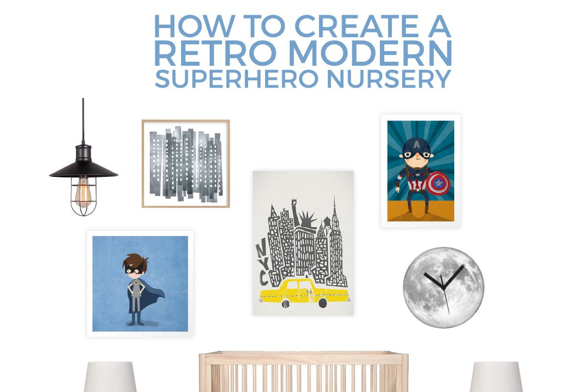 Turn your baby boy's room from bland and boring to modern and lively with this superhero inspired nursery. It has the perfect touch of modern and retro elements!