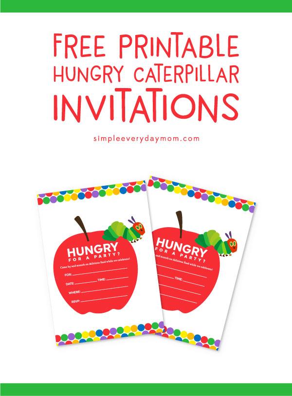Colorful free the very hungry caterpillar invitations for Very hungry caterpillar templates free