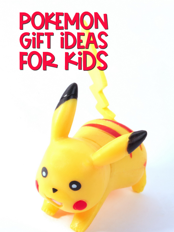 Pikachu toy with the words Pokemon gift ideas for kids at the top