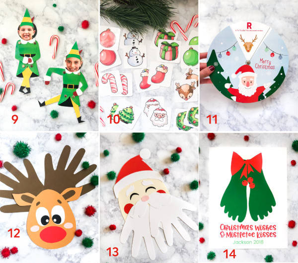 Free Christmas Printables For Kids | Make these fun crafts and have fun playing memory with these free printables for kids. #kids #kidsandparenting #ece #teaching #teacher #kindergarten #elementary
