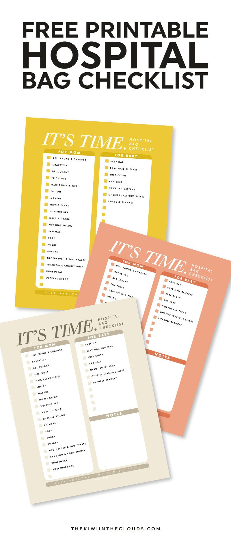 The No Nonsense Guide To The Hospital Bag Checklist Freebie