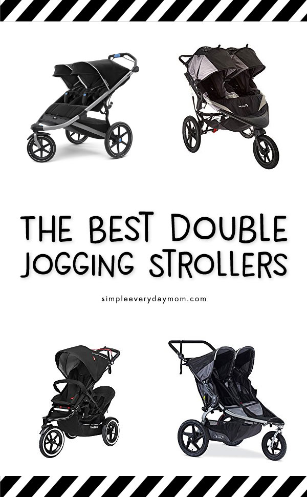 4 black double jogging strollers