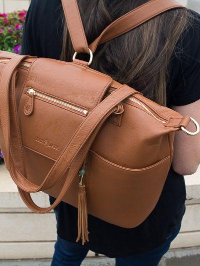 Leather purse for mom | newborn essentials | diaper bag