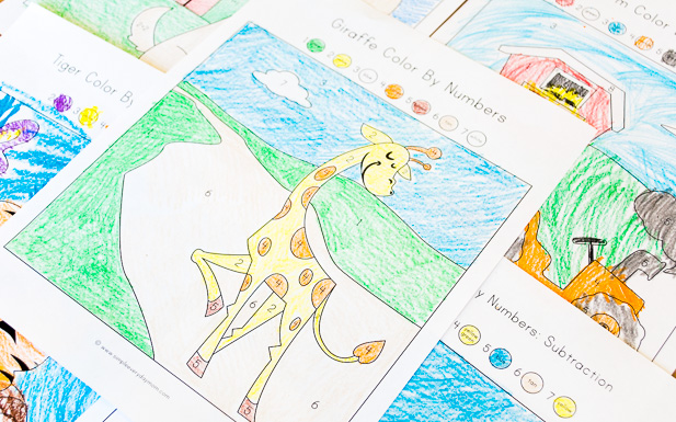 color by number | math activities for kids | printable coloring page