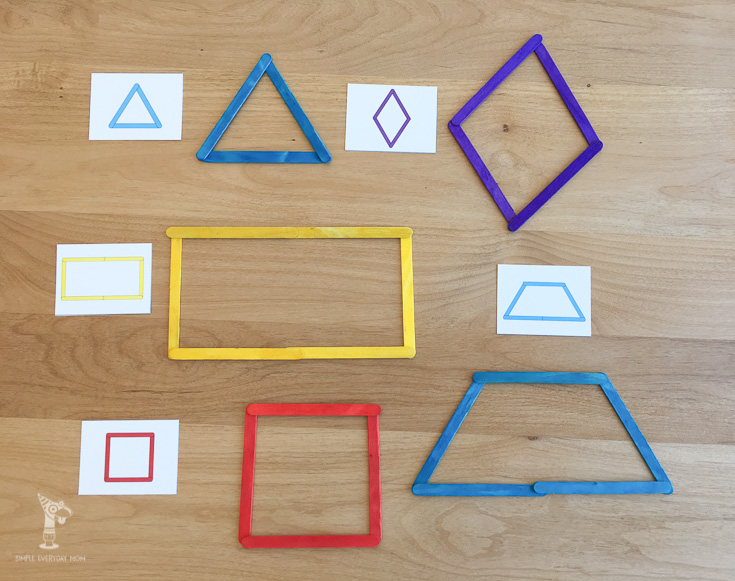 Teach kids shapes like triangle, diamond, rectangle, square and more with these low prep printable worksheets.