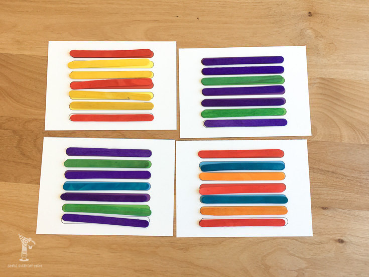 What a fun way to teach your kids patterns! It's so simple to print these sheets out, grab some popsicle sticks and have your kids have fun and learn at the same time!