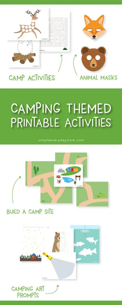 Camping printables for kids | Give yourself some quiet time while your kids strengthen their creativity. They're great for kindergarten , preschool and more.