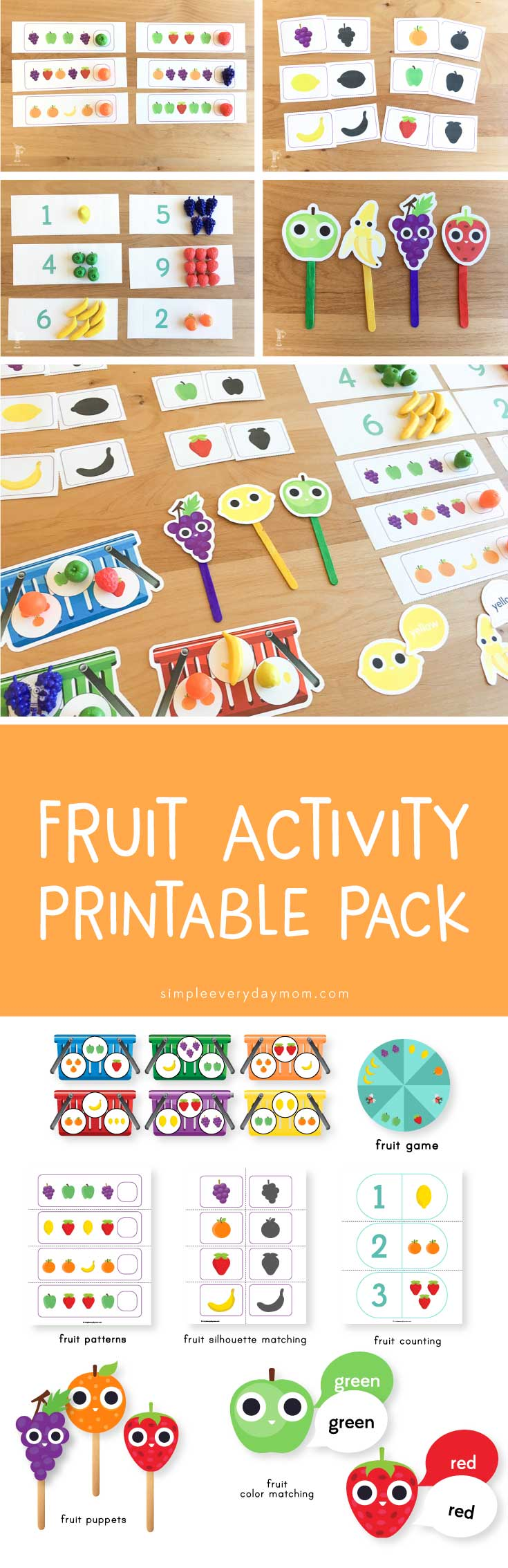 fruit activities toddlers | printables for kids | preschool learning fun