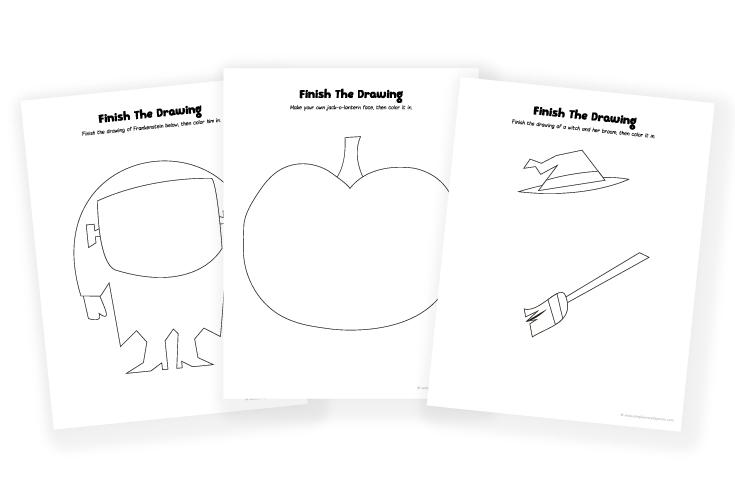 halloween art for kids | easy printable frankenstein, witch, pumpkin