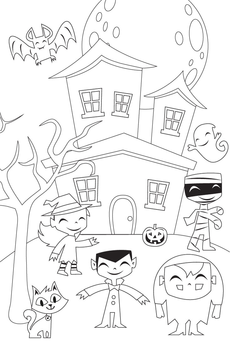 giant halloween coloring page | Cute printable witch, vampire, ghost, bat, frankenstein