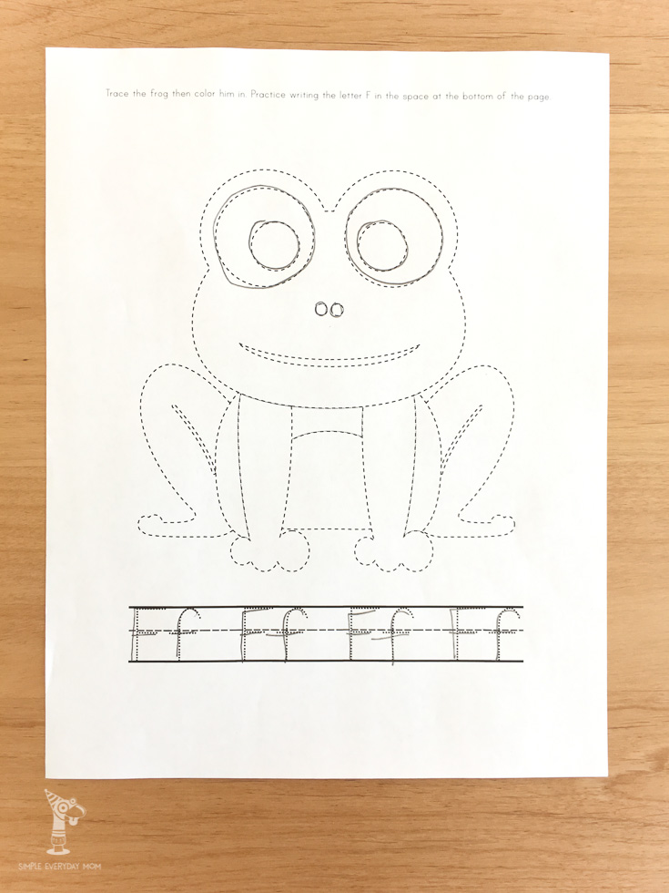F is for frog worksheet | letter f practice