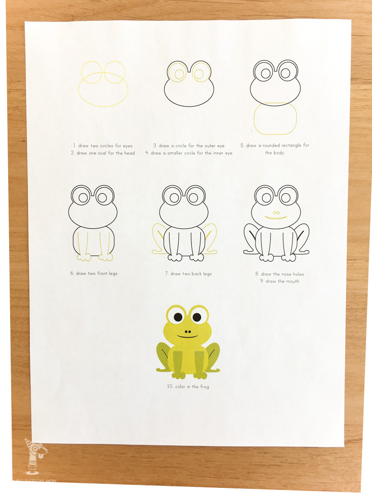 Teach your kids how to draw a frog for themselves.
