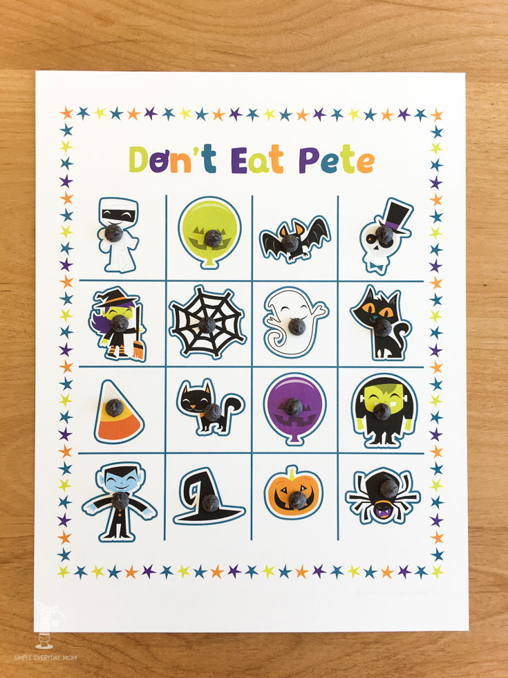 halloween don't eat pete game | printables for kids | family game night