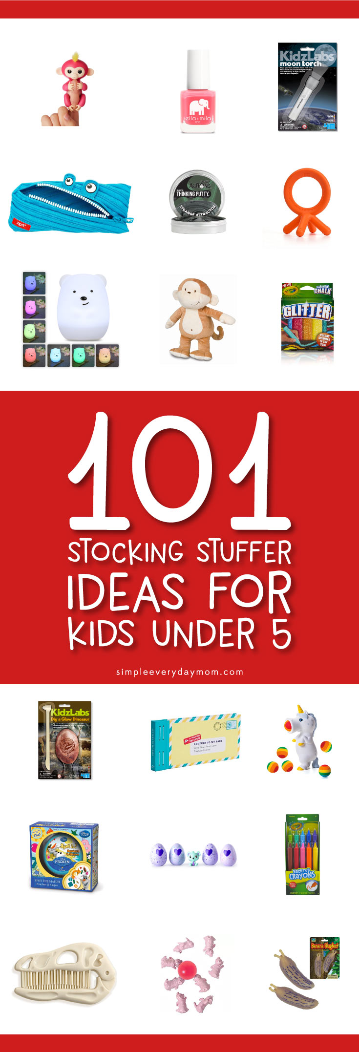 You'll find over 100 ideas for some of the best stocking stuffers for kids under 5. There's everything from arts & crafts, to toys, to personal care items and beyond!