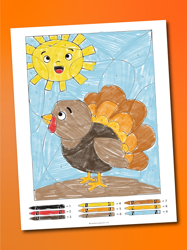 turkey color by number printables
