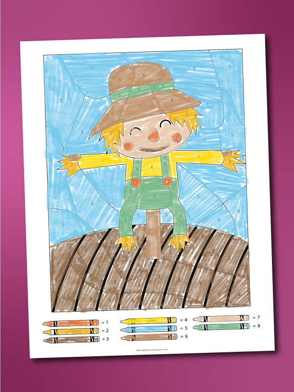 scarecrow color by number printable