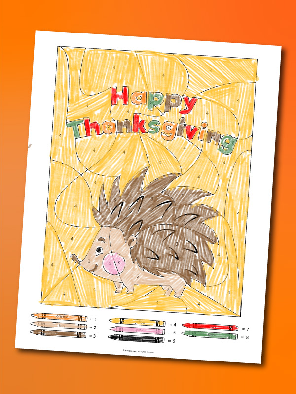 happy thanksgiving color by number printable