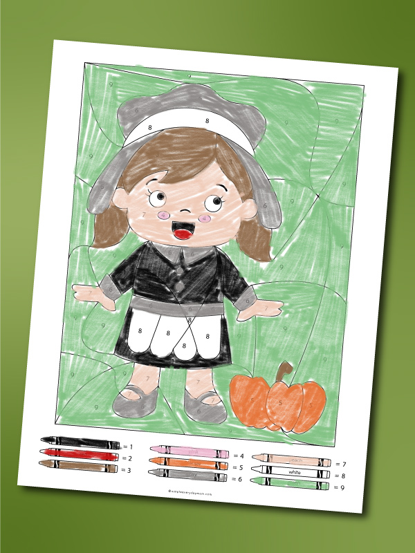 girl pilgrim color by number printable