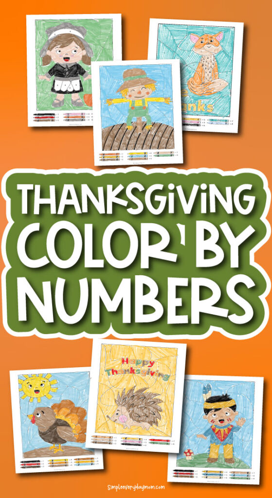 Thanksgiving color by number printables with the words Thanksgiving color by numbers
