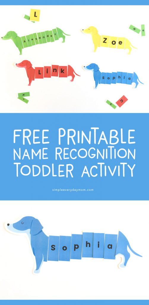 Teach your kids their name the easy way with this fun and interactive dog puzzle name activity. Great for preschoolers or kindergarteners. It's free so download now!