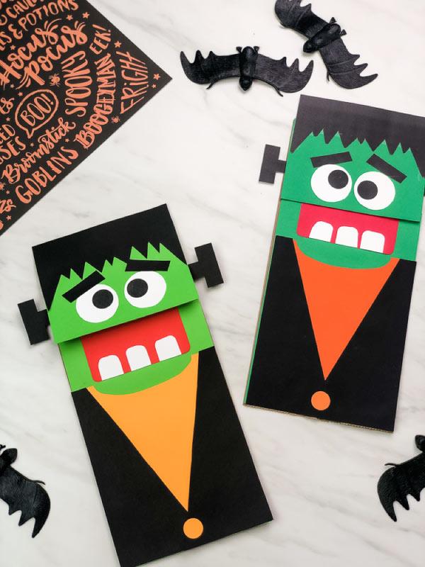 two frankenstein paper bag puppet crafts