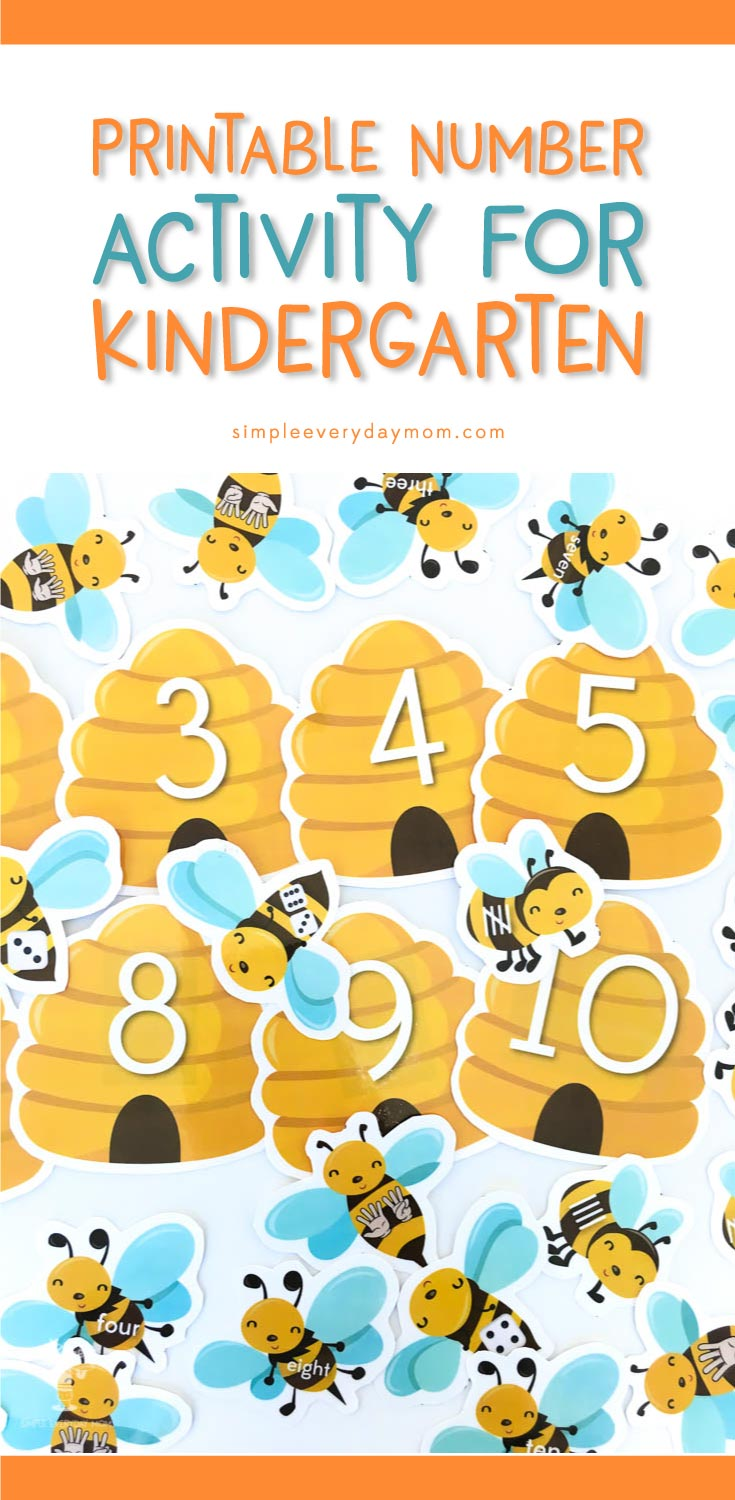 Numbers Activity For Preschoolers | Create a cute, simple game that'll keep your preschooler engaged and quiet when you download this printable bee number activity.