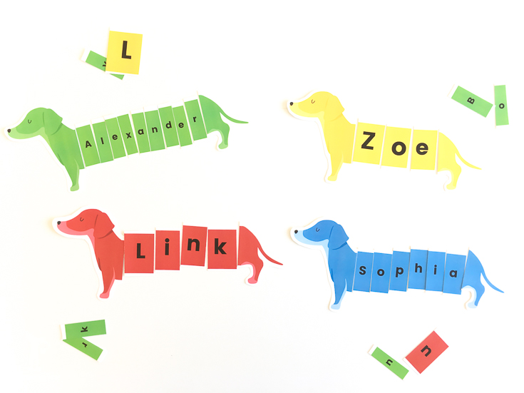 Teach Your Child Their Name With This FREE Dog Name Activity