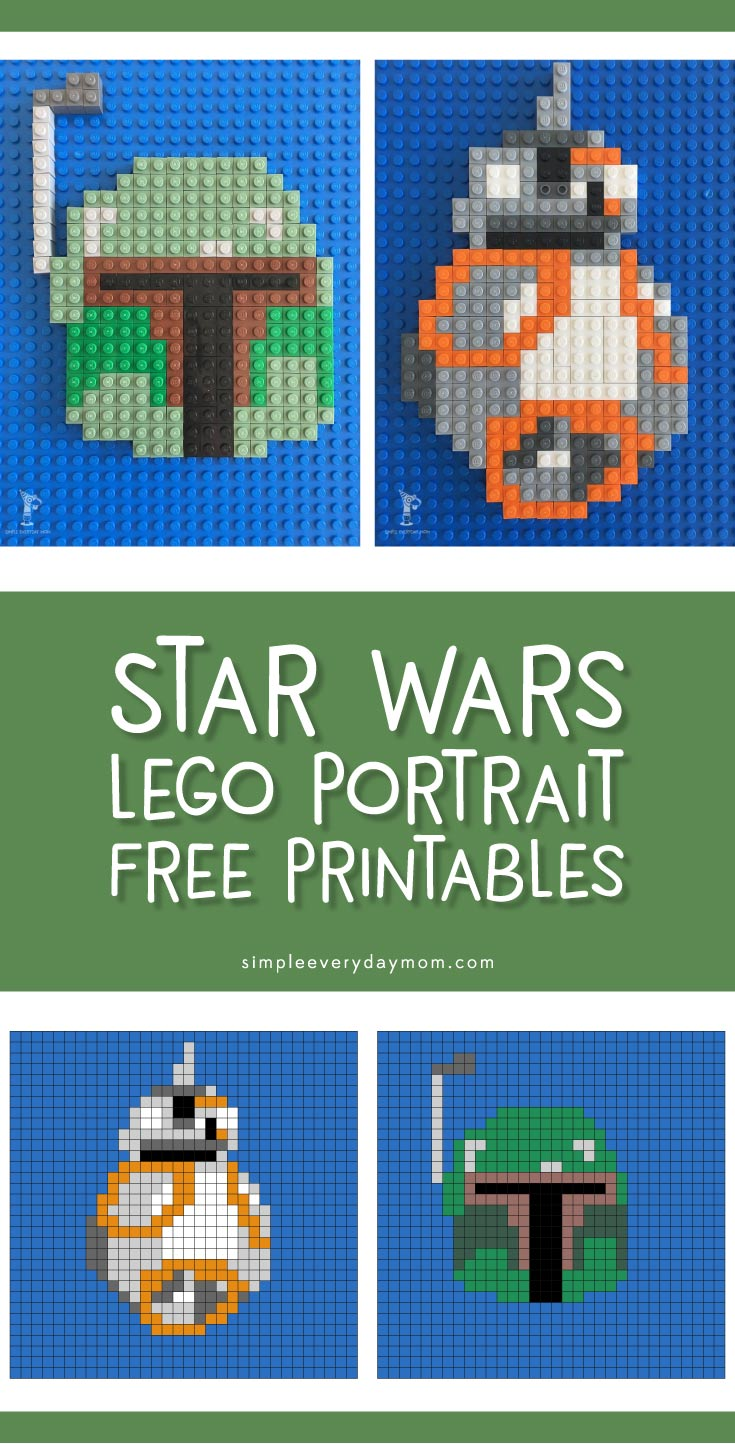 Star Wars Lego Mosaics | Kids bored? They'll love these fun Star Wars printables that show them how to create 2 of their favorite characters, BB-8 and Boba Fett. It's a great activity for whenever boredom strikes!