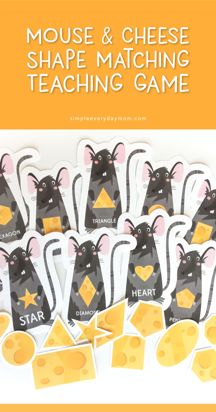Mouse & Cheese Shape Matching Game | Teach your preschooler basic (and some advanced) shapes with this cute and fun game. You can also easily make it into a file folder game that's perfect for quiet time at church, doctor's offices or more!