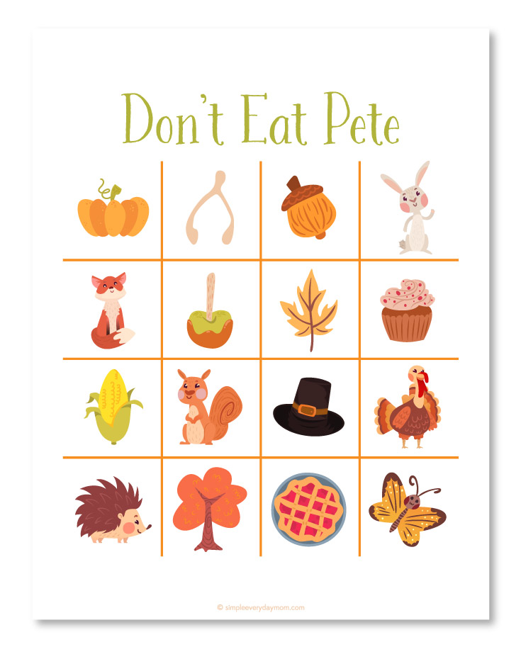 Thanksgiving activities for kids | Don't Eat Pete Thanksgiving game