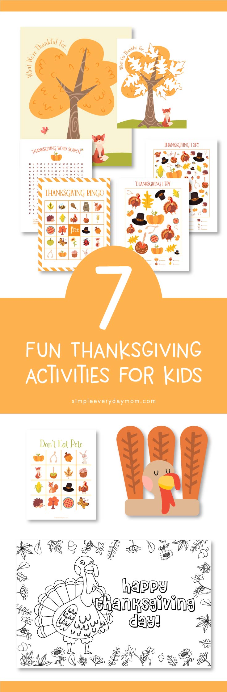 Create some new family traditions and spend quality time together doing these fun Thanksgiving activities for kids. Download the entire printable pack for games, easy crafts, coloring and more!