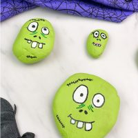 Kids' Zombie Painted Rocks For Halloween