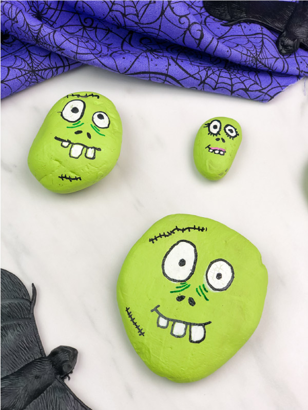zombie painted rocks for kids