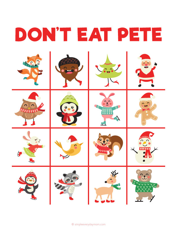 Christmas Don't Eat Pete Game | Printable activities for kids