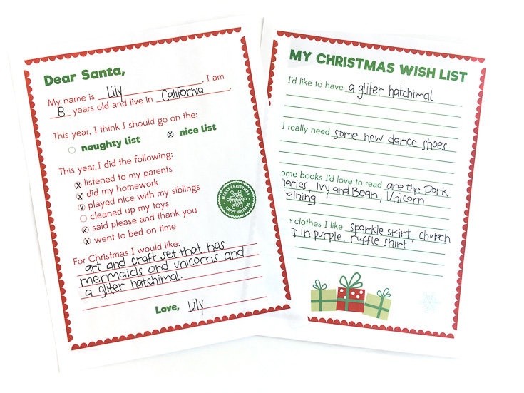 Printable Letter to Santa | Christmas wish list | Kids ideas